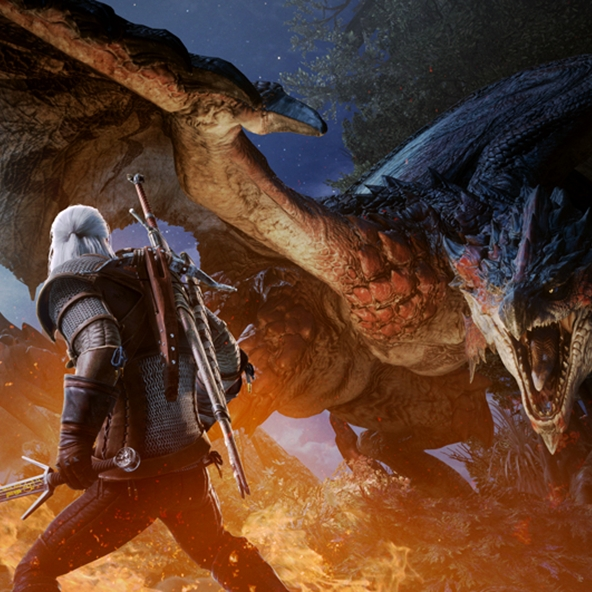 Geralt takes on a new contract in Monster Hunter: World!