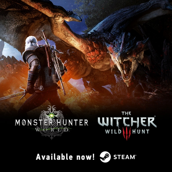 Geralt arrived to Monster Hunter: World on Steam!