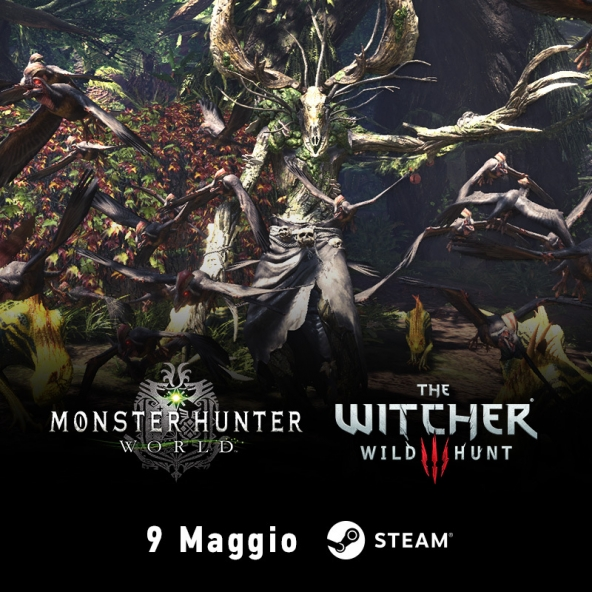 La collaborazione tra The Witcher e Monster Hunter: World arriva su Steam il 9 maggio!