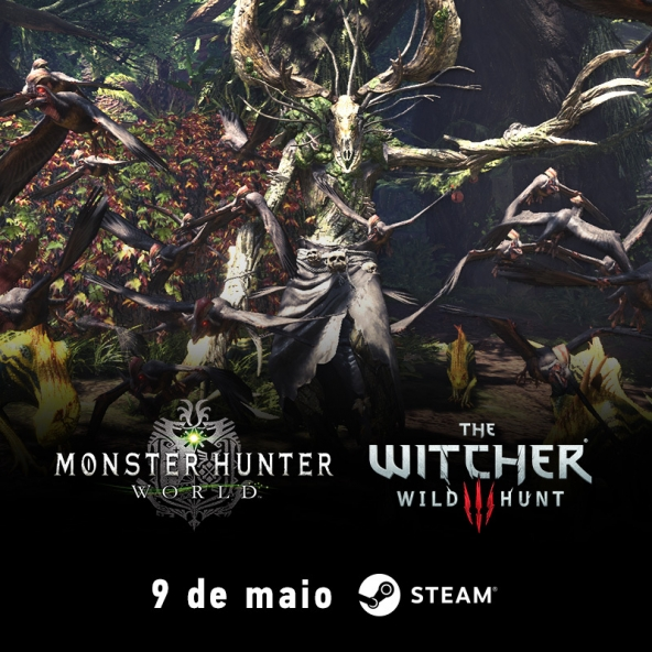 The Witcher e Monster Hunter World estão chegando ao Steam no dia 9 de maio!